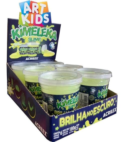6 Slime Kimeleka Brilha No Escuro Original Acrilex180ggeleia