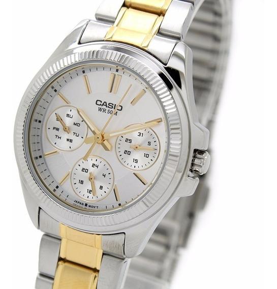 Reloj Casio Ltp 2088sg 7a P/ Dama/ligero/correa Metalica D