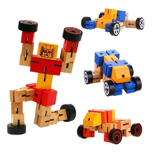 Robot Transformer Articulado De Madera Motricidad Con Ruedas