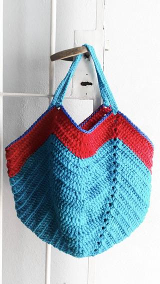 Bolso Cartera Chevron Artesanal Trapillo Tul Tejido Crochet