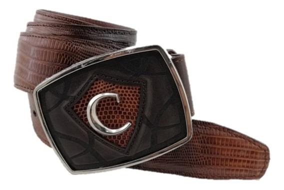 Cinturón Para Hombre Marca Cuadra Color Antique Miel Hecho De Piel De Armadillo