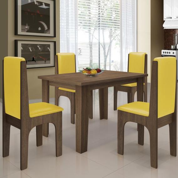 Mesa P/ Sala De Jantar C/ 04 Cadeiras Miami Castanho/canário