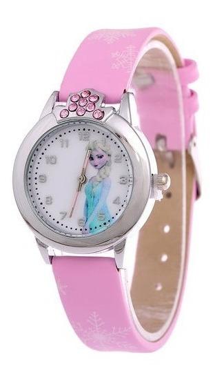 Relógio Elsa Frozen Disney Rosa Strass Infantil Meninas