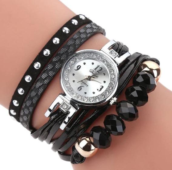 Relógio Pulseira Feminino De Couro 5 Pedras Barato Promoção