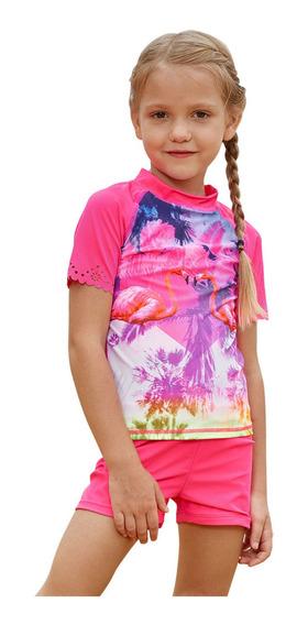 Traje De Baño Surf Niña Palmeras Rosa Talla 2 3 4 6 Años