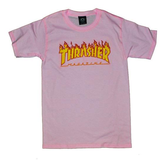 Playera Thrasher Flame Logo Rosa Logo Nueva Hype Streetwear