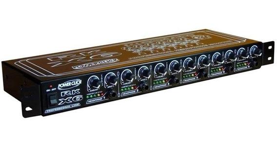 Amplificador P/ Fone Power Click Rk X6 Rack P/ 6 Fones Rkx6