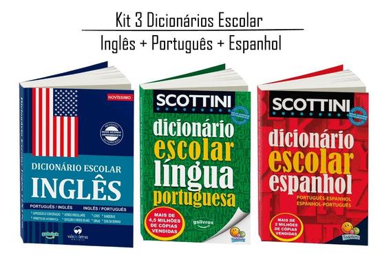 Kit 3 Dicionário Inglês Espanhol Português (atualizado)