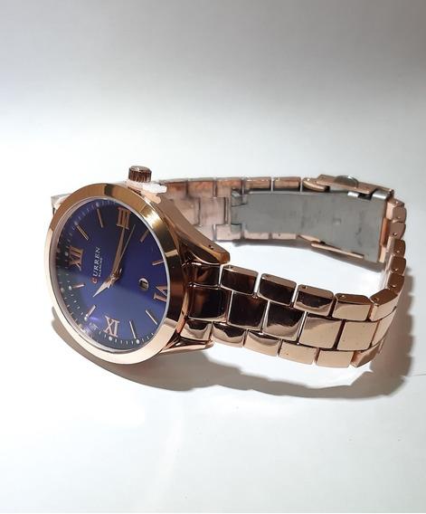 Relógio Feminino Curren Original Azul E Rose