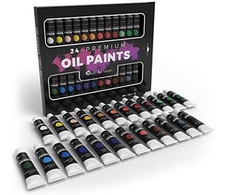 Juego De Pintura Al Oleo 24 Colores Diferentes Y Vivos Set