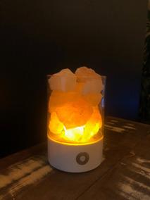 Luminária Sal Himalaia Cromoterapia Base Branca