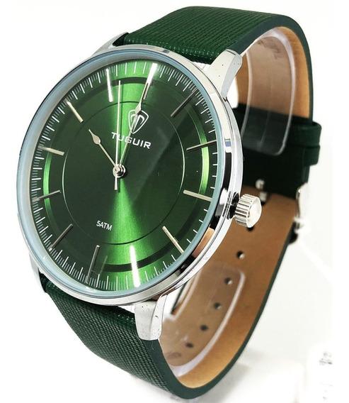 Relogio Quartz Prata Verde Masculino Tuguir 5000 Garantia