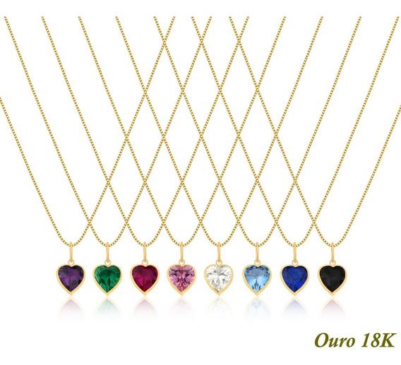 Cordão Corrente Veneziana Ouro 18k 45cm Ponto De Luz Coração