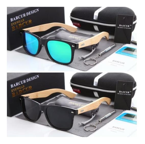 Óculos De Sol Polarizado Bambu Madeira Original Proteção Uv