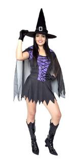 Fantasia Bruxa Com Capa E Vestido Adulto,halloween,kit 2pçs