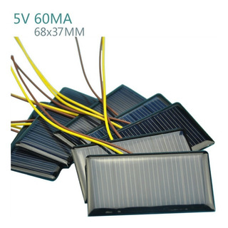 2 Unidades Mini Placa Solar 5,5 V 50ma Xy 68 X 37 Mm
