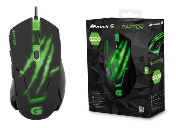 Mouse Gamer Usb 3200 Dpi Raptor Om801 Preto/verde Fortrek