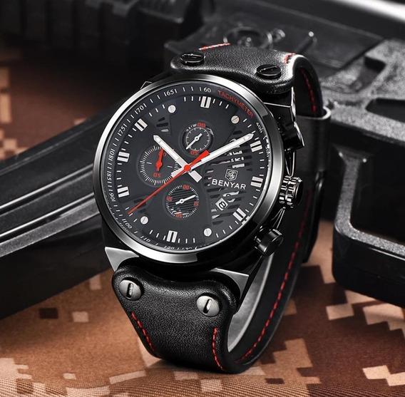 Relógio Benyar Masculino Funcional Pulseira De Couro Cronógrafo Em Ate 12x Sem Juros