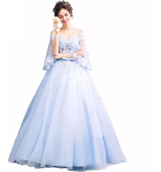 Vestido De Fiesta Azul Envío Gratis Q-262483