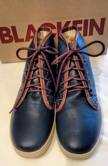 Botas De Cuero T42 Zapatilla Hombre Azul Blackfin
