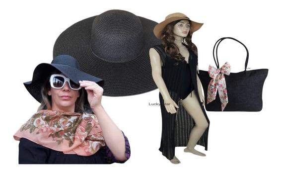 Bolsa Praia Feminina + Chapéu Aba Larga Floppy + Saída Kit