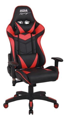 Imagen 1 de 1 de Silla de escritorio Koa Racing GAM610 gamer ergonómica  negra y roja con tapizado de cuero sintético