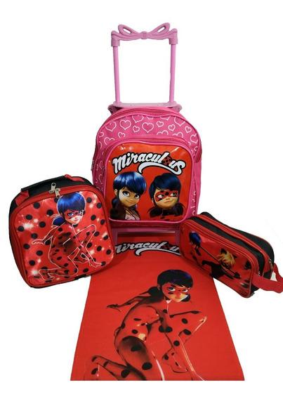 Kit Mochila Infantil Feminina Miraculous Ladybug Escola