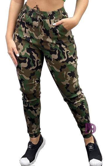 Calça Camuflada Feminina Jogger Verde Militar Exercito Punho