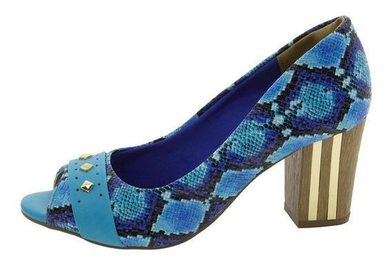 Sapato Feminino Via Marte Peep Toe Salto Alto Anabela