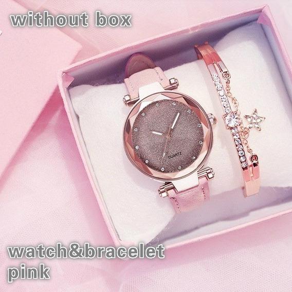 Relógio Feminino Com Pulseira Rosa