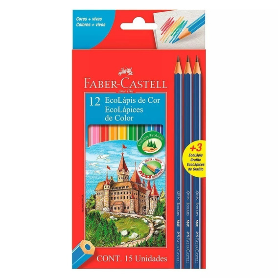 Lapices De Color Pinturitas Faber Castell X 12 + 2 Negros