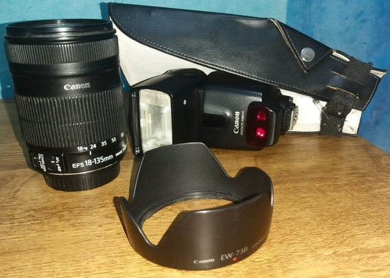 Lente 18 135mm, Flash Canon 430exii, Rebatedor E Parasol