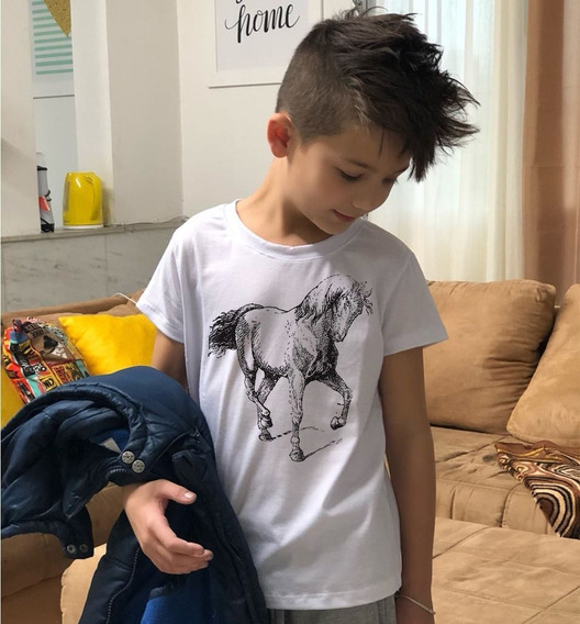 Camiseta Masculina Infantil Cavalo Desenho Imagem Country