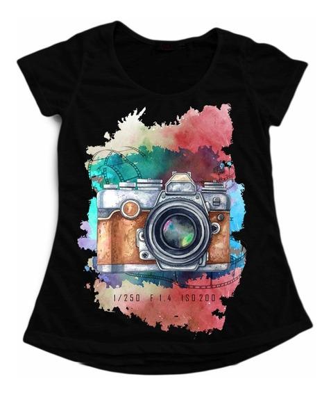 T-shirt Babylook Preta Personalizada Fotografia Aquarela