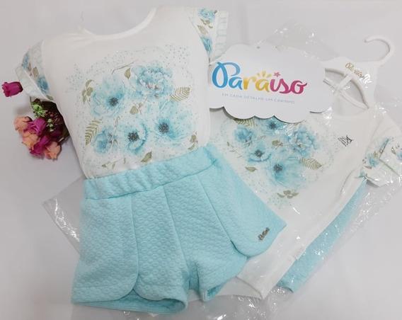 Conjunto Luxo Menina Infantil Paraiso Moda Bebe Body + Shorts Tamanho 1 / 2 / 3 / 4 Dig 8646