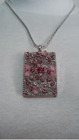 Colar Feminino Cor De Rosa Pink Zircônia Banhado A Prata