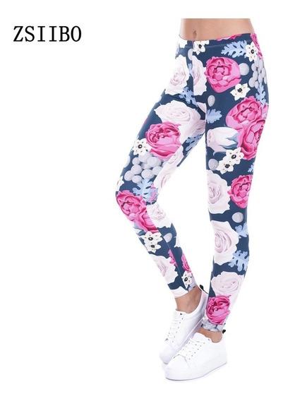 Leggings Rosas Colorido Sexy Moda 2018