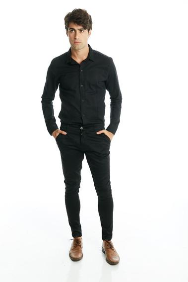 Camisa Manga Larga Entallada Slim Fit De Hombre De Vestir