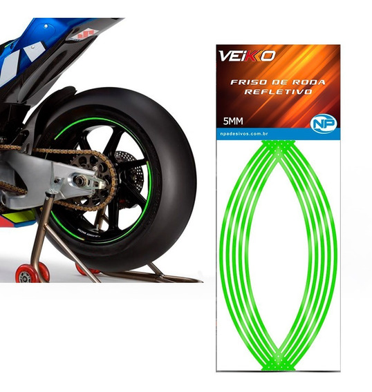 Adesivo Friso Fita Faixa Refletivo Roda Moto 5mm Verde