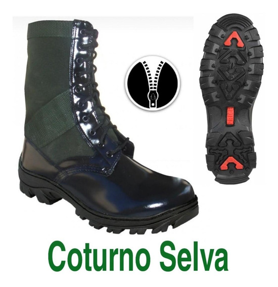 Coturno Selva Lona Verde Troller Atalaiac/zíper Extra Brilho