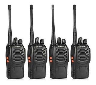4 Radios De Comunicación Portátil 2 Vías + Manos Libres
