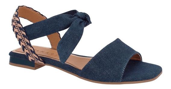 Sandália Feminina Ramarim 1925203 Jeans Plus E Preto Camurça