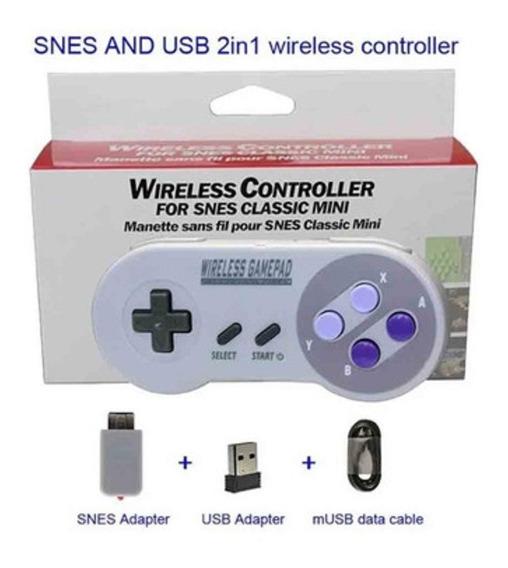 2 Controle Joystick Gamepad Sem Fio Ps Nes Snes Classic Mini