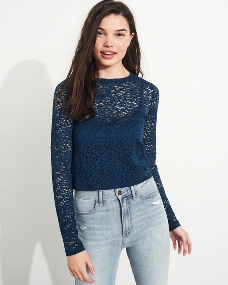 Camiseta Hollister Cropped Renda 100% Original Feminina