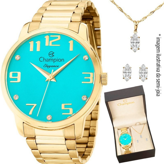 Relógio Champion Feminino Cn26028y + Colar E Brincos