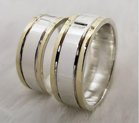 Par De Aliança De Prata Namoro Com Filetes De Ouro