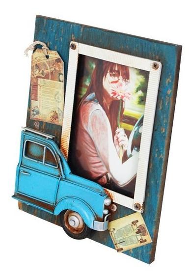 Porta-retrato Com Fusca Azul Oldway 23x18x2cm