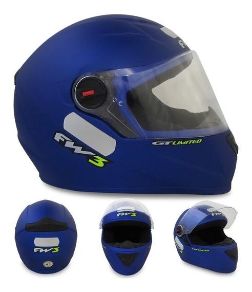 Capacete Esportivo Moto Fw3 Fechado Azul Fosco Gt Limited