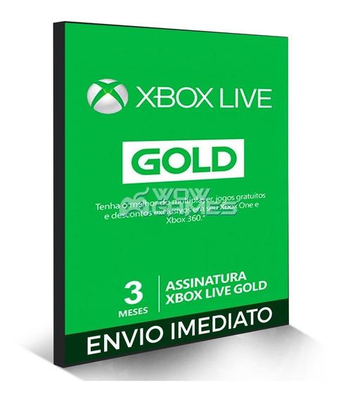 Xbox Live Gold Brasil Br - Cartão 3 Meses Codigo 25 Digitos