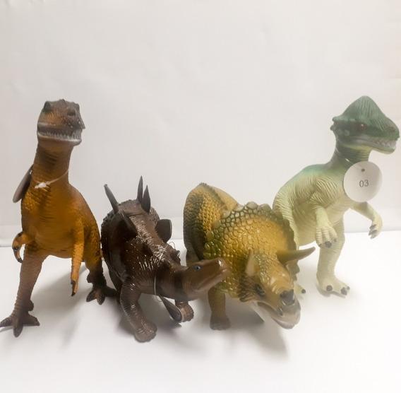 Kit Com 4 Dinossauro Borracha Tamanho Grande Verde Claro